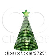 Clipart Illustration Of A Green Mirrored Disco Tree Topped With A Star On A White Background