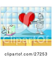 Clipart Illustration Of A Silly Robot In Love Holding A Red Heart Valentine Out To A Toaster On A Kitchen Counter