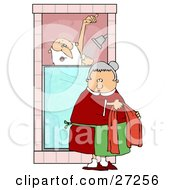 Clipart Illustration Of Mrs Claus Bringing Santa A Towel While He Sings And Soaps Up In The Shower