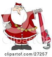 Clipart Illustration Of Santa Claus In His Red Suit Resting His Hand On Top Of A Pipe Wrench