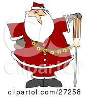 Santa Claus In His Red Suit Resting His Hand On Top Of A Flathead Screwdriver