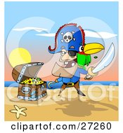 Male Pirate With Two Teeth A Hook Hand And Peg Leg Holding A Sword And Defending His Treasure Chest On A Beach A Parrot On His Shoulder