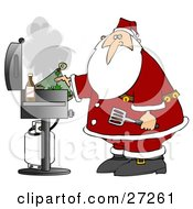 Santa Holding A Hot Pat And Spatula While Grilling Food On A BBQ