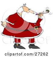 Clipart Illustration Of Santa In A Suit Blowing A Noise Maker At A New Years Party by djart