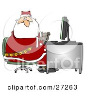 Clipart Illustration Of Santa In His Suit Typing On A Desktop Computer While Responding To Dear Santa Emails by Dennis Cox