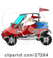 Clipart Illustration Of Santa In His Suit Driving A Mud Bug With An Ice Chest In The Back