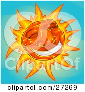 Friendly Orange Sun With A Big Grin And Rays Of Light Smiling In A Blue Sky