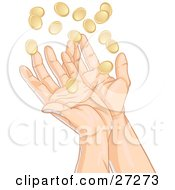 Clipart Illustration Of A Pair Of Human Hands Reaching Up To Catch Falling Gold Coins Symbolizing Success Winnings Charity And Finance In General by Tonis Pan