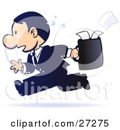 Clipart Illustration Of A Gradient Blue Sweaty Stressed Out Businessman Running With Papers Spilling Out Of His Briefcase Behind Him