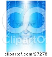 Humanlike Head With Wire Frame Facing Front On A Blue And White Background Of Grids And Binary Coding