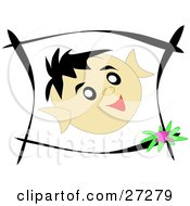 Clipart Illustration Of A Little Boys Face In A Black Frame Showing Happy Emotions