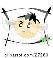 Clipart Illustration Of A Little Boys Face In A Black Frame Showing Angry Emotions With Smoke Coming Out Of His Ears