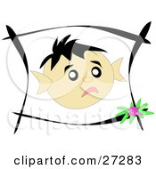 Clipart Illustration Of A Little Boys Face In A Black Frame Showing Sad Emotions