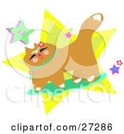 Clipart Illustration Of A Brown Japanese Cat With Flowers And Stars by bpearth
