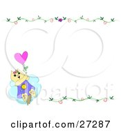 Clipart Illustration Of A Kitty Cat Flying Away With A Balloon In The Lower Left Corner Of A White Background With Floral Vines by bpearth