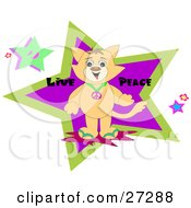 Clipart Illustration Of A Brown Cat Wearing A Peace Symbol Necklace Standing In Front Of Stars With Live Peace Text by bpearth