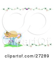 Clipart Illustration Of A Kitty Cat On A Mushroom In The Lower Left Corner Of A Blank White Stationery Background With Vines by bpearth