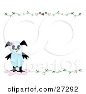 Part Panda Part Bird In The Lower Left Corner Of A Blank White Stationery Background With Vines