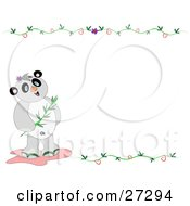 Panda Bear With Bamboo Standing In The Lower Left Corner Of A Blank White Stationery Background With Vines