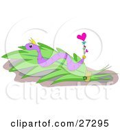 Clipart Illustration Of A Purple Snake With Stripes Slithering On A Leaf With A Balloon Attached To Its Tail by bpearth
