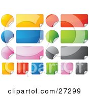 Clipart Illustration Of A Collection Of Rectangular Square And Circular Yellow Red Blue Green Pink And Black Peeling Stickers