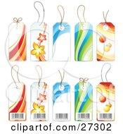 Collection Of The Front And Back Sides Of Five Product Label Tags With Barcodes Flowers Waves And Christmas Ornaments