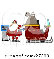 Clipart Illustration Of Santa Watching The Cost Rise On The Gas Pump While Filling His Sleigh With Gasoline On His Delivery Route by Dennis Cox