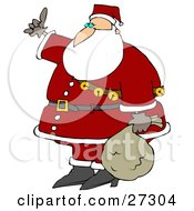 Santa Wearing His Red Suit A Belt And A Sash Of Jingle Bells Carrying His Sack Of Toys At His Side And Hitchhiking