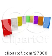 Clipart Illustration Of Red White Yellow Pink Green Tan Purple Orange And Blue Closed Doors Symbolizing Choices And Opportunities