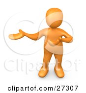 Orange Person Standing And Holding One Arm In Front Of Him And The Other Out To The Side Presenting Something Or Explaining
