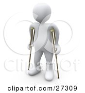 White Person With A Cast On His Broken Foot Using A Pair Of Crutches To Get Around