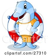 Clipart Illustration Of A Friendly Blue Dolphin Life Guard Standing In Front Of A Life Saver Ring by Holger Bogen #COLLC27310-0045