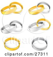 Collection Of Gold And Silver Wedding Band Rings Entwined Together And Resting Alone