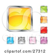 Clipart Illustration Of A Collection Of Yellow Green Orange Red Purple Pink Gray And Blue Squares Or Buttons