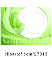 Clipart Illustration Of Two Green Leaves With Dew On The Edge Of A Blank White Circle Surrounded By Green Waves by beboy