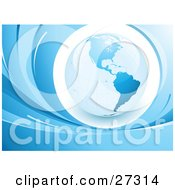 Clipart Illustration Of A Blue Glob Featuring The Americas Over A White Circle Surrounded By Blue Waves by beboy