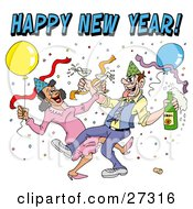 Clipart Illustration Of A Drunk Couple Wearing Party Hats And Dancing With Champagne Under Balloons And Confetti At A New Year Party by LaffToon