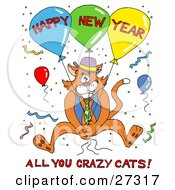 Clipart Illustration Of An Orange Cat In A Vest And Tie Holding Onto Balloons And Surrounded By Confetti At A Party With Happy New Year All You Crazy Cats Text by LaffToon