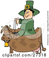 St Patricks Day Leprechaun In Green Riding On A Brown Cow