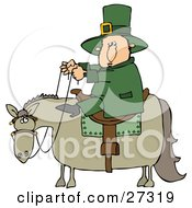 Clipart Illustration Of A St Patricks Day Leprechaun In Green Riding On A Chubby Horse by Dennis Cox