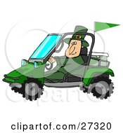 Clipart Illustration Of A St Patricks Day Leprechaun In Green Driving A Mud Bug Atv With An Ice Chest In The Back by Dennis Cox