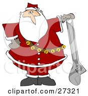 Santa Claus In His Red Suit Resting His Hand On Top Of An Adjustable Wrench