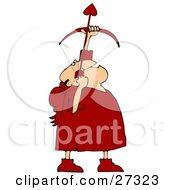 Chubby Male Cupid In Red With Red Wings Pointing An Arrow Upwards