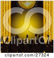 Clipart Illustration Of Silhouetted Fans Waving Their Hands In The Air Under A Gold Disco Ball With Sparkling Curtains And A Spotlight On A Microphone On Stage