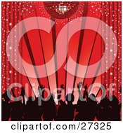 Clipart Illustration Of Silhouetted Dancers Waving Their Hands In The Air Under A Red Disco Ball With Sparkling Curtains