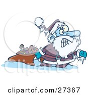 Clipart Illustration Of Santa Claus Pulling A Toy Sack Frozen Solid With Icicles Hanging From His Hat And Hand by Ron Leishman