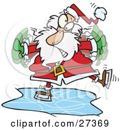 Clipart Illustration Of Santa Flapping His Arms To Try To Maintain His Balance So He Doesnt Fall While Ice Skating by Ron Leishman