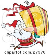 Clipart Illustration Of Santa Claus Running To Deliver A Large Christmas Present Gift Wrapped In A Red Bow Ribbon And Yellow Paper With A White Snowflake Pattern by toonaday