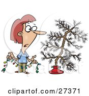 Clipart Illustration Of A Depressed Caucasian Woman Holding Colorful Christmas Lights And Looking At Her Dead Christmas Tree In The Stand