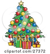 Clipart Illustration Of Wrapped Xmas Presents Resting Under A Colorfully Decorated Christmas Tree